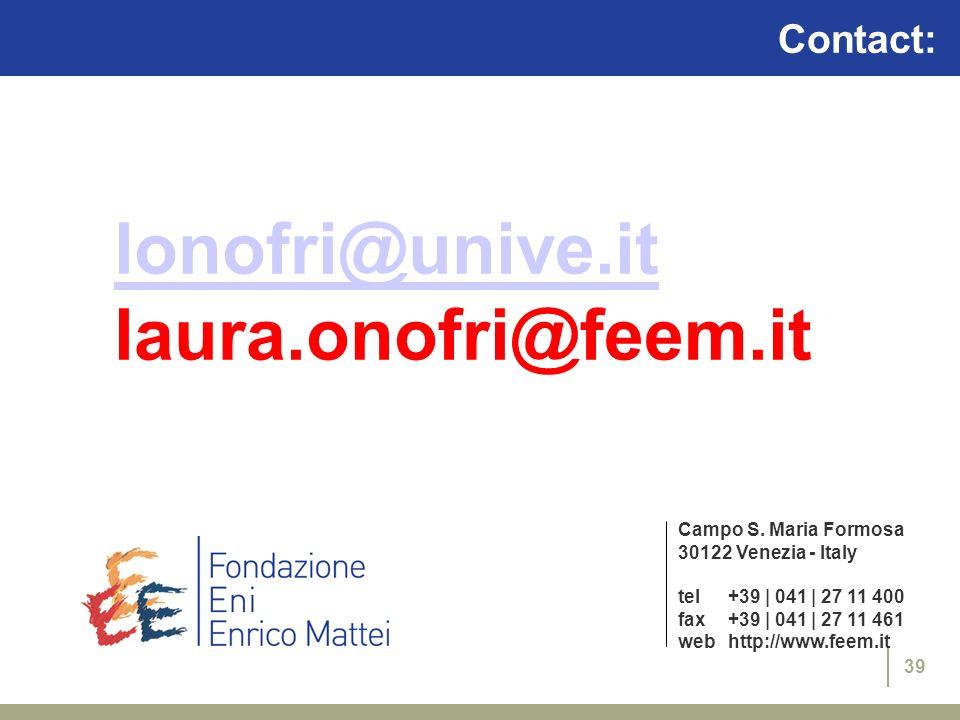 39 Campo S. Maria Formosa 30122 Venezia - Italy tel+39 | 041 | 27 11 400 fax+39 | 041 | 27 11 461 webhttp://www.feem.it Contact: lonofri@unive.it laur