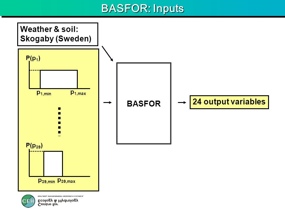 BASFOR: Inputs BASFOR Weather & soil: Skogaby (Sweden) p 1,min p 1,max P(p 1 ) p 39,min p 39,max P(p 39 ) 24 output variables