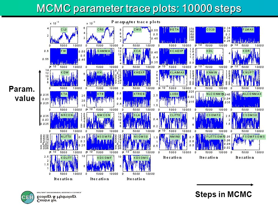 MCMC parameter trace plots: 10000 steps Steps in MCMC Param. value