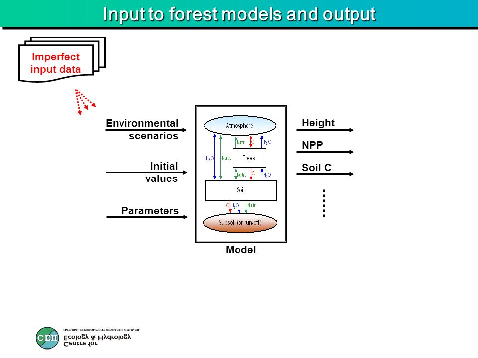 Input to forest models and output Soil C NPP Height Environmental scenarios Initial values Parameters Model Imperfect input data