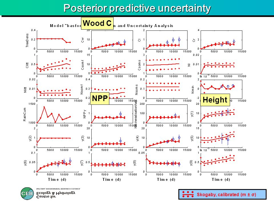 Posterior predictive uncertainty Wood C Height NPP Skogaby, calibrated (m ± σ)