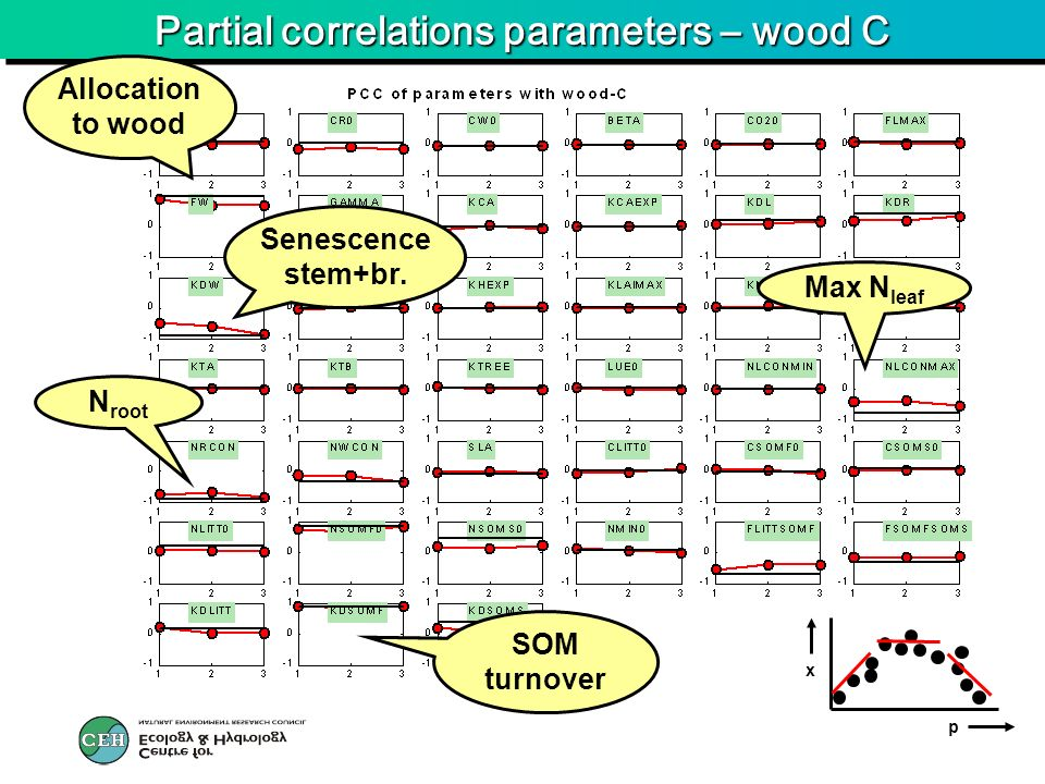 Partial correlations parameters – wood C p x Allocation to wood Senescence stem+br. SOM turnover Max N leaf N root