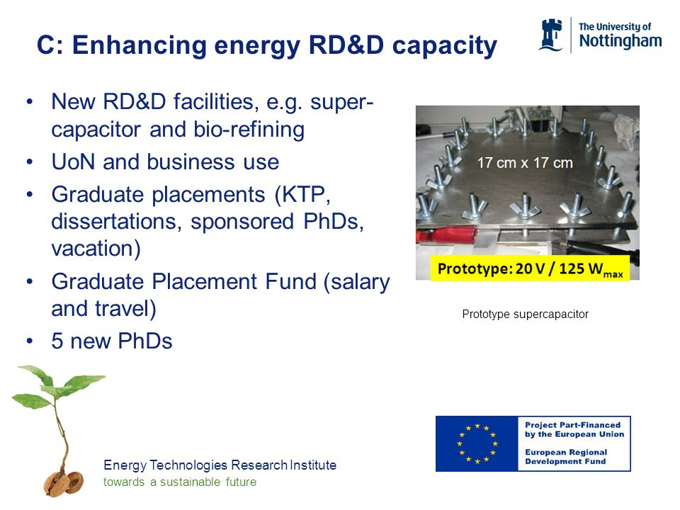 Energy Technologies Research Institute towards a sustainable future C: Enhancing energy RD&D capacity New RD&D facilities, e.g.