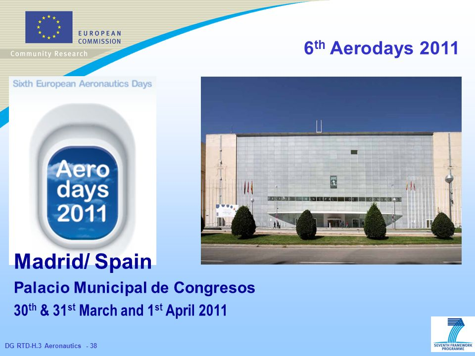 DG RTD-H.3 Aeronautics th Aerodays 2011 Madrid/ Spain Palacio Municipal de Congresos 30 th & 31 st March and 1 st April 2011
