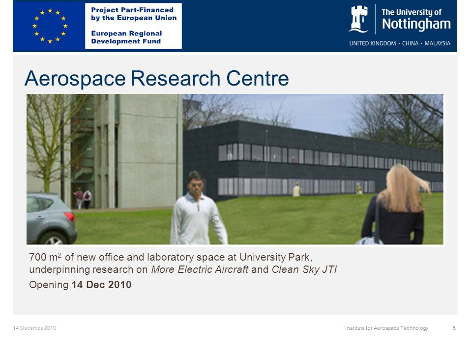 14 Decembe 2010Institute for Aerospace Technology5 Aerospace Research Centre 700 m 2 of new office and laboratory space at University Park, underpinning research on More Electric Aircraft and Clean Sky JTI Opening 14 Dec 2010