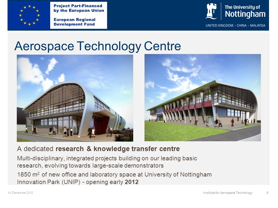 14 Decembe 2010Institute for Aerospace Technology6 Aerospace Technology Centre A dedicated research & knowledge transfer centre Multi-disciplinary, integrated projects building on our leading basic research, evolving towards large-scale demonstrators 1850 m 2 of new office and laboratory space at University of Nottingham Innovation Park (UNIP) - opening early 2012