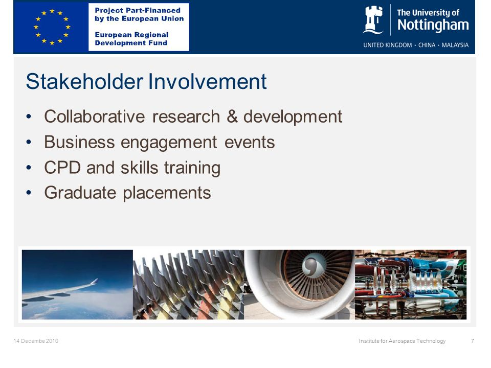 14 Decembe 2010Institute for Aerospace Technology7 Stakeholder Involvement Collaborative research & development Business engagement events CPD and skills training Graduate placements