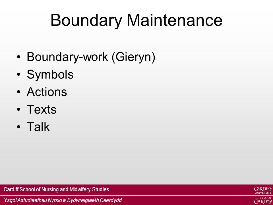 Cardiff School of Nursing and Midwifery Studies Ysgol Astudiaethau Nyrsio a Bydwreigiaeth Caerdydd Boundary Maintenance Boundary-work (Gieryn) Symbols Actions Texts Talk