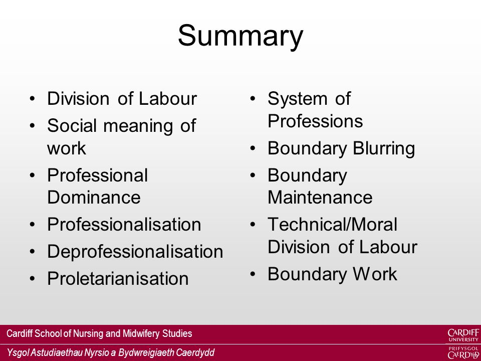 Cardiff School of Nursing and Midwifery Studies Ysgol Astudiaethau Nyrsio a Bydwreigiaeth Caerdydd Summary Division of Labour Social meaning of work Professional Dominance Professionalisation Deprofessionalisation Proletarianisation System of Professions Boundary Blurring Boundary Maintenance Technical/Moral Division of Labour Boundary Work