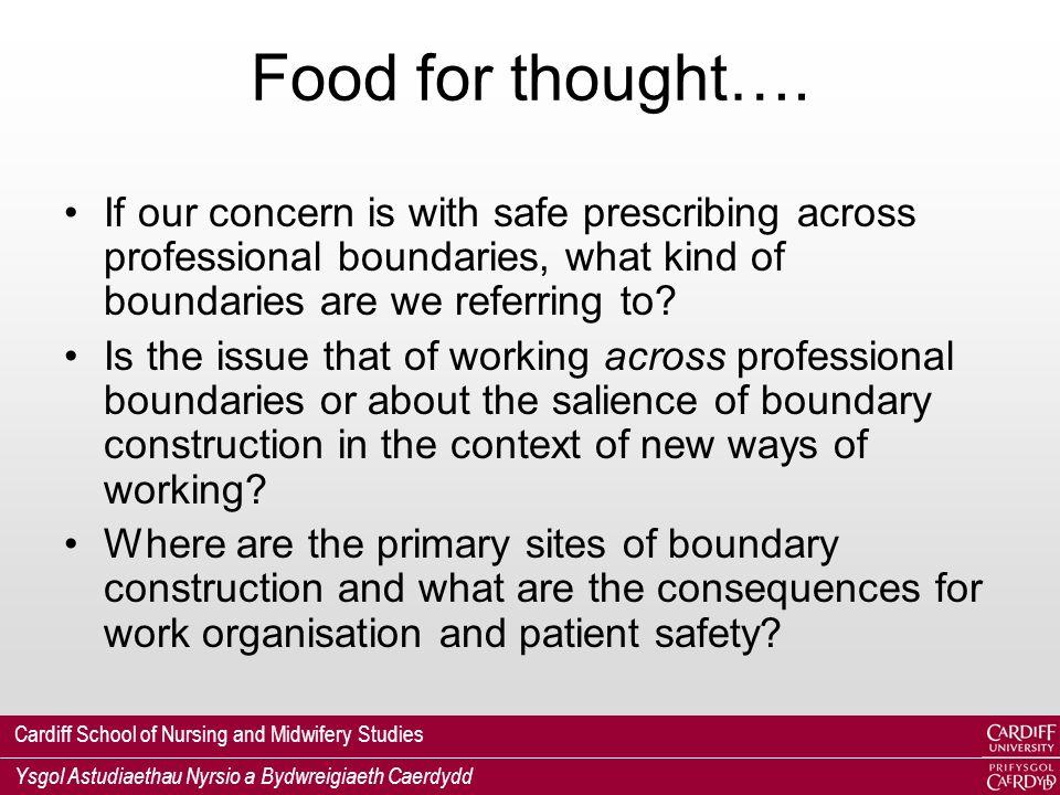 Cardiff School of Nursing and Midwifery Studies Ysgol Astudiaethau Nyrsio a Bydwreigiaeth Caerdydd Food for thought….