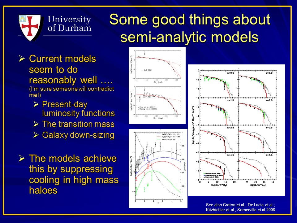 Some good things about semi-analytic models Current models seem to do reasonably well ….