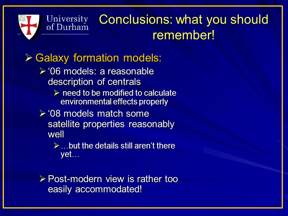 Conclusions: what you should remember.