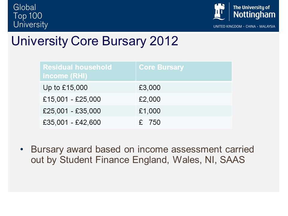 University Core Bursary 2012 Bursary award based on income assessment carried out by Student Finance England, Wales, NI, SAAS Residual household incom