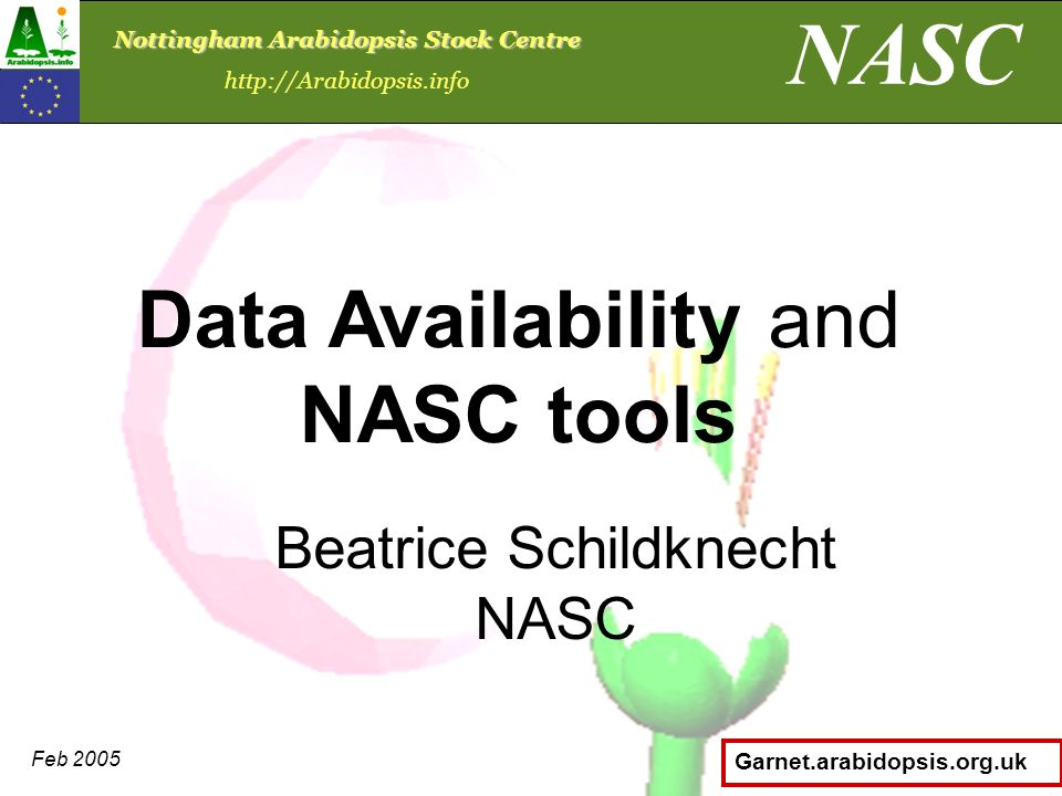 Garnet.arabidopsis.org.uk Beatrice Schildknecht NASC Data Availability and NASC tools NASC Nottingham Arabidopsis Stock Centre http://Arabidopsis.info Feb 2005