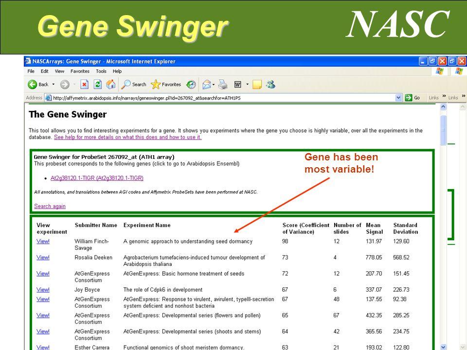 Gene has been most variable! NASC Gene Swinger