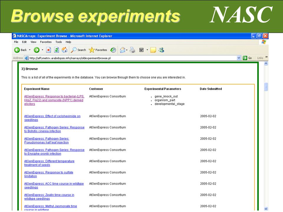 NASC Browse experiments