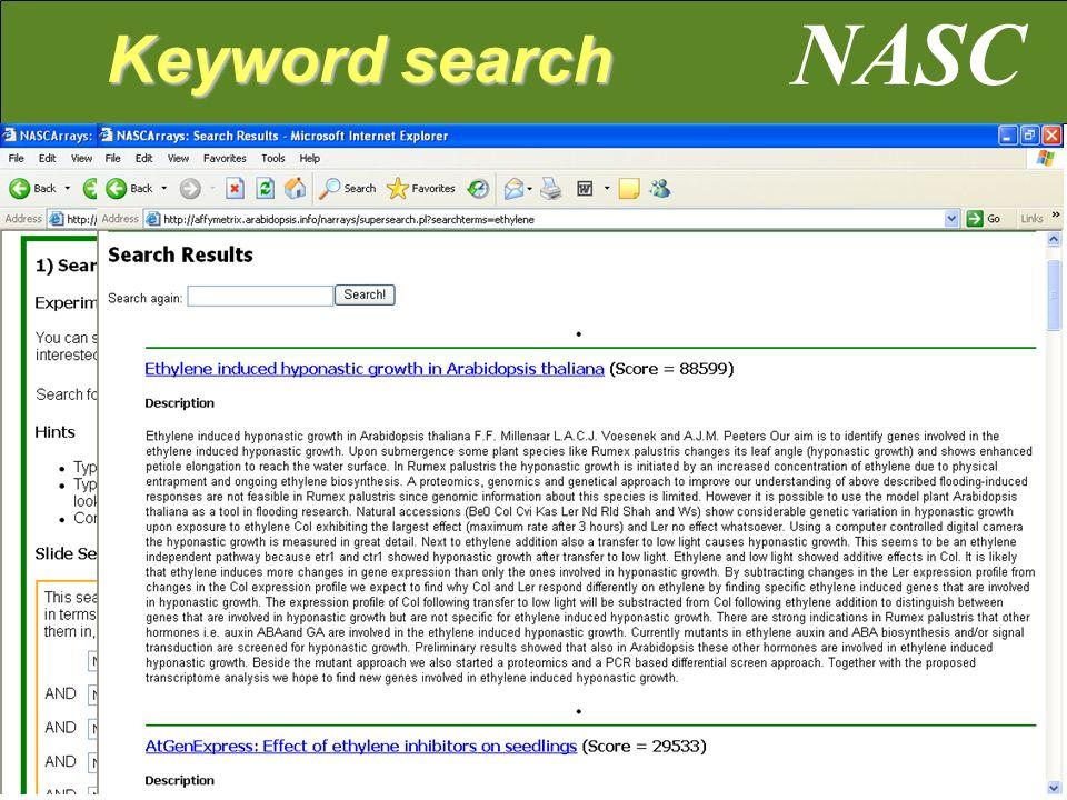 NASC Keyword search