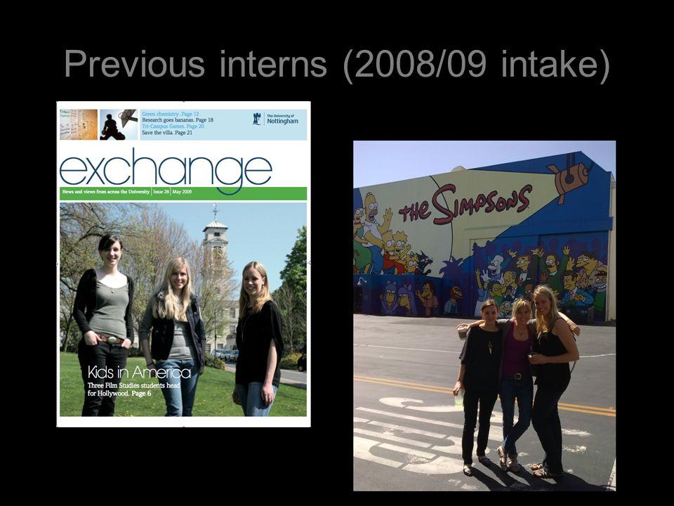Previous interns (2008/09 intake)