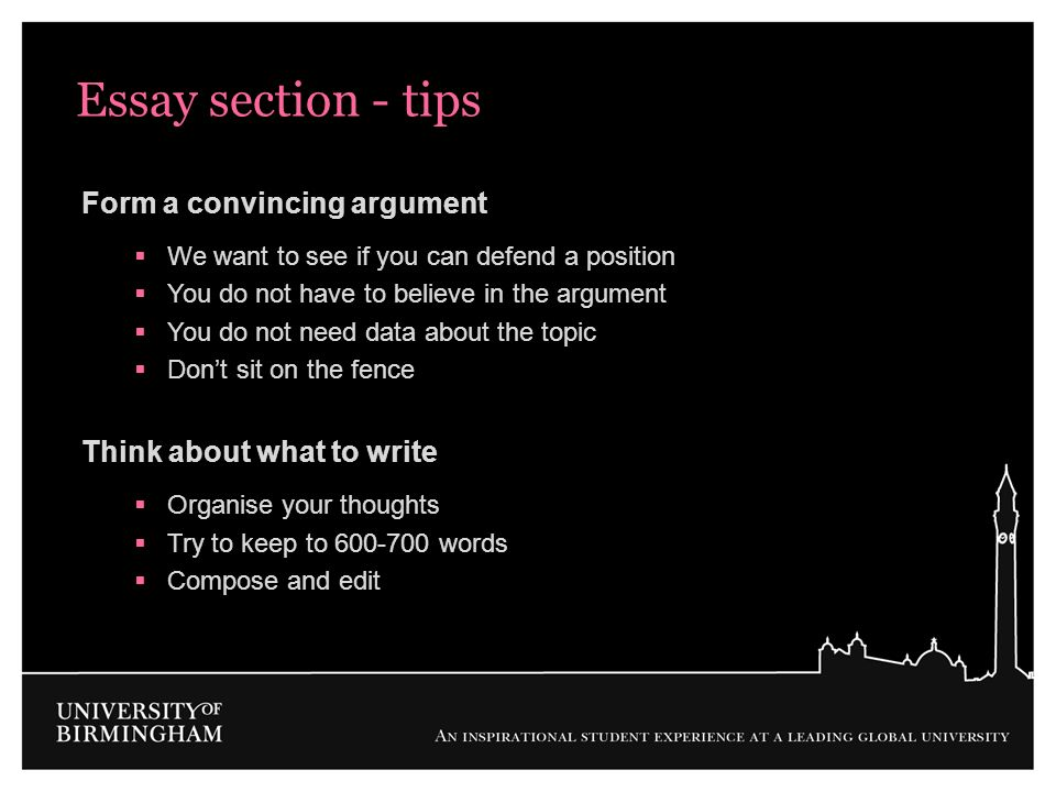 Essay section - tips Form a convincing argument We want to see if you can defend a position You do not have to believe in the argument You do not need
