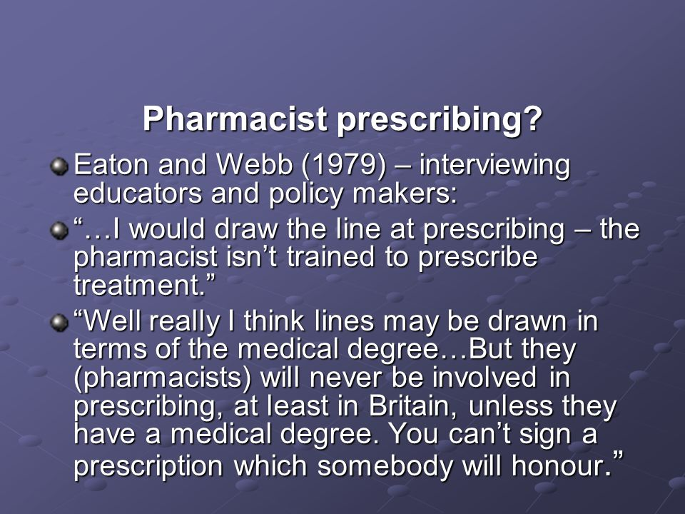Pharmacist prescribing.