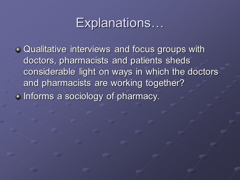 Explanations… Qualitative interviews and focus groups with doctors, pharmacists and patients sheds considerable light on ways in which the doctors and pharmacists are working together.