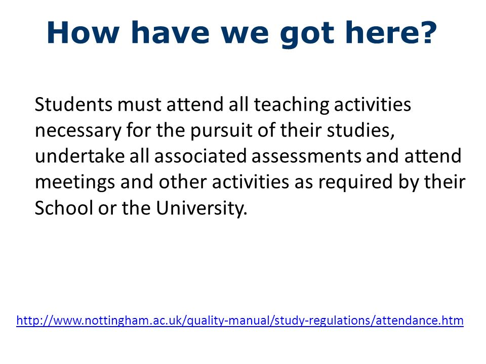 Students must attend all teaching activities necessary for the pursuit of their studies, undertake all associated assessments and attend meetings and other activities as required by their School or the University.