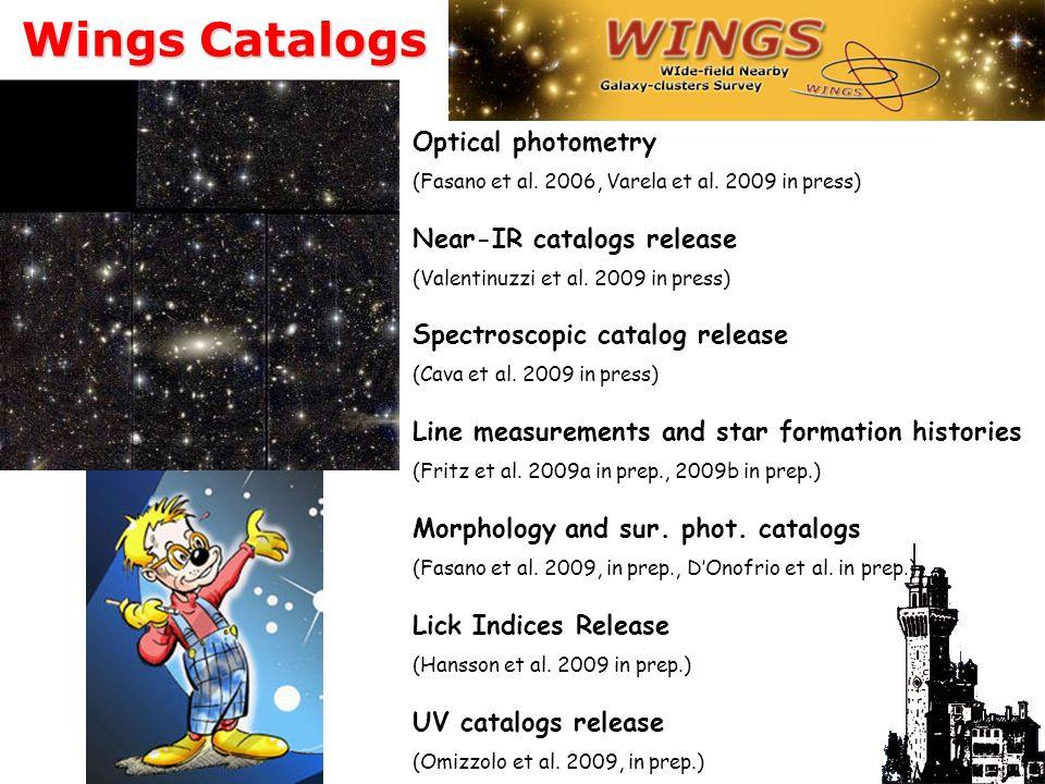 Wings Catalogs Optical photometry (Fasano et al. 2006, Varela et al.