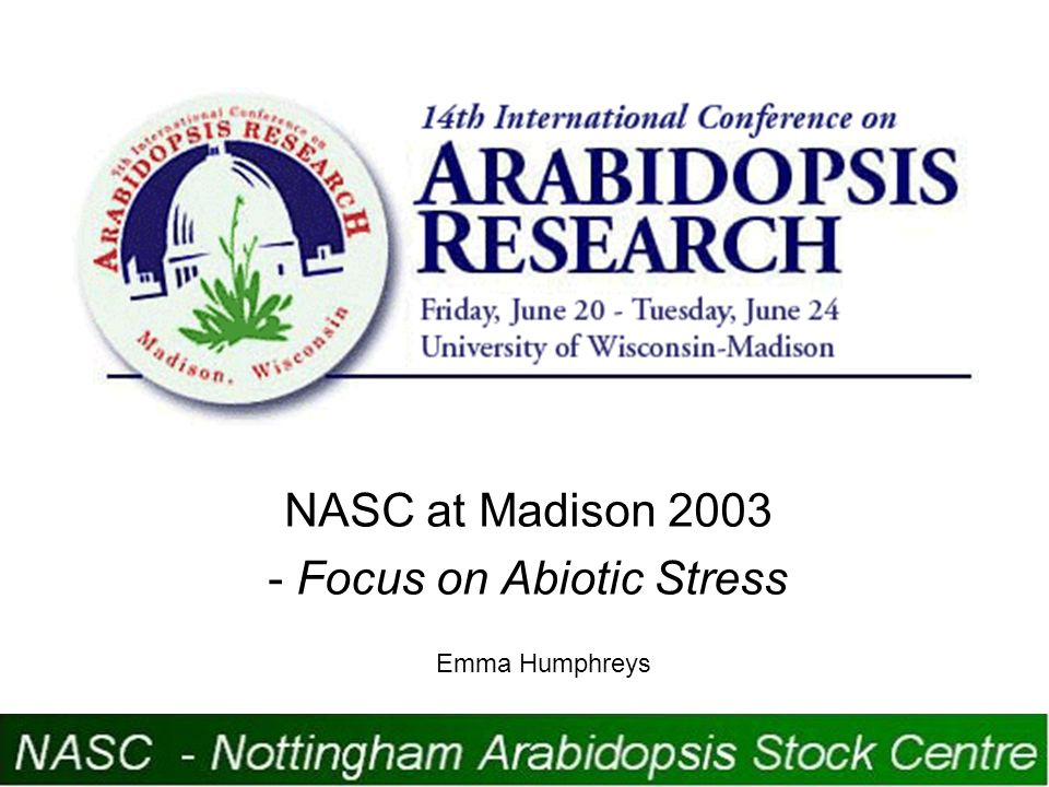 Abiotic Stress Topics Covered Phototropism High temperature Low temperature Drought Oxidative stress Gravitropism http://www.union.wisc.edu/conferenceservices/arabidopsis/