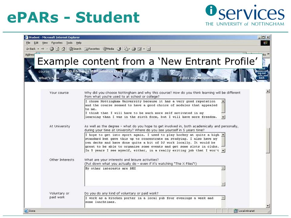 Example content from a New Entrant Profile ePARs - Student