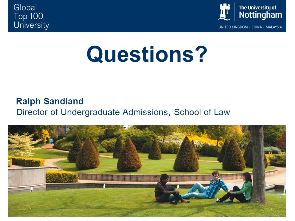 10 Questions Ralph Sandland Director of Undergraduate Admissions, School of Law