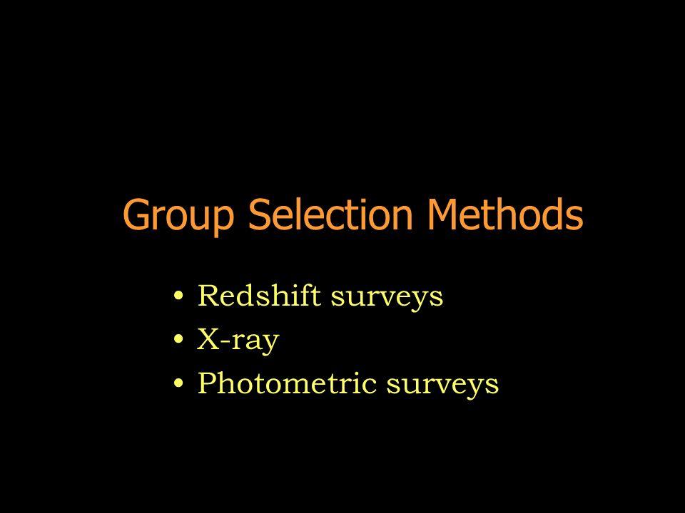 Group Selection Methods Redshift surveys X-ray Photometric surveys