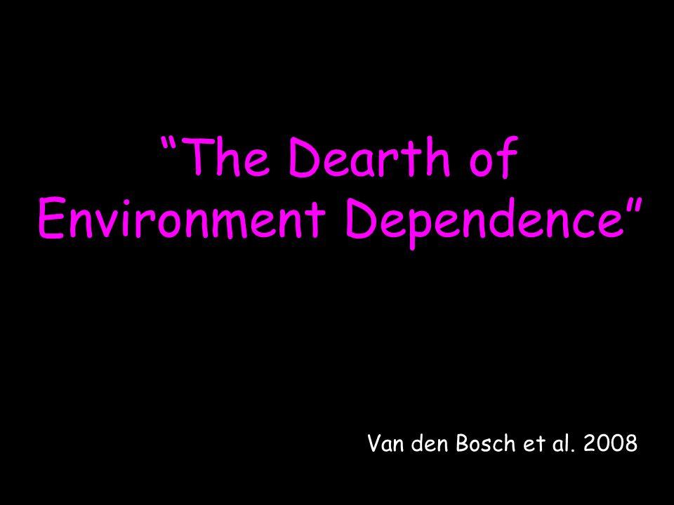 The Dearth of Environment Dependence Van den Bosch et al. 2008