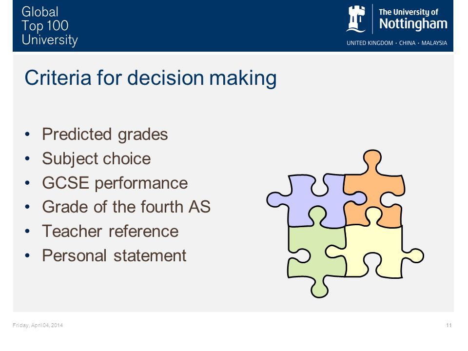 Friday, April 04, 201411 Criteria for decision making Predicted grades Subject choice GCSE performance Grade of the fourth AS Teacher reference Personal statement