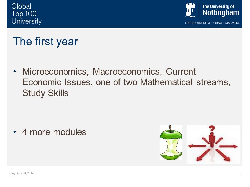 Friday, April 04, 20145 The first year Microeconomics, Macroeconomics, Current Economic Issues, one of two Mathematical streams, Study Skills 4 more modules