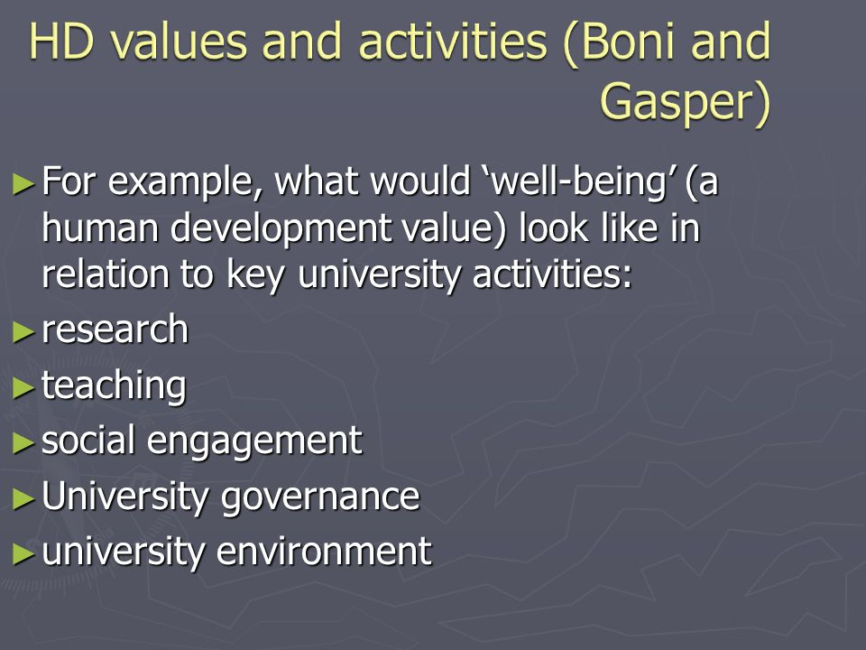 For example, what would well-being (a human development value) look like in relation to key university activities: For example, what would well-being