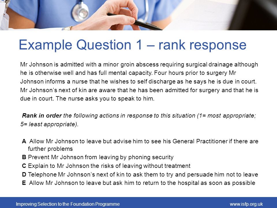 Improving Selection to the Foundation Programmewww.isfp.org.uk Example Question 1 – rank response Mr Johnson is admitted with a minor groin abscess re