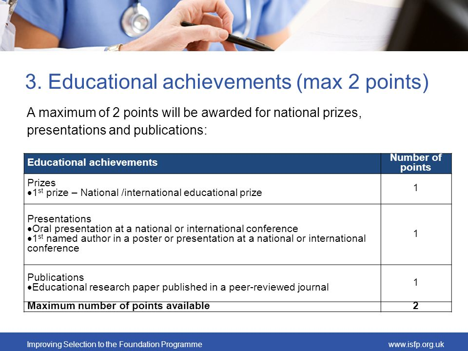 Improving Selection to the Foundation Programmewww.isfp.org.uk 3. Educational achievements (max 2 points) A maximum of 2 points will be awarded for na