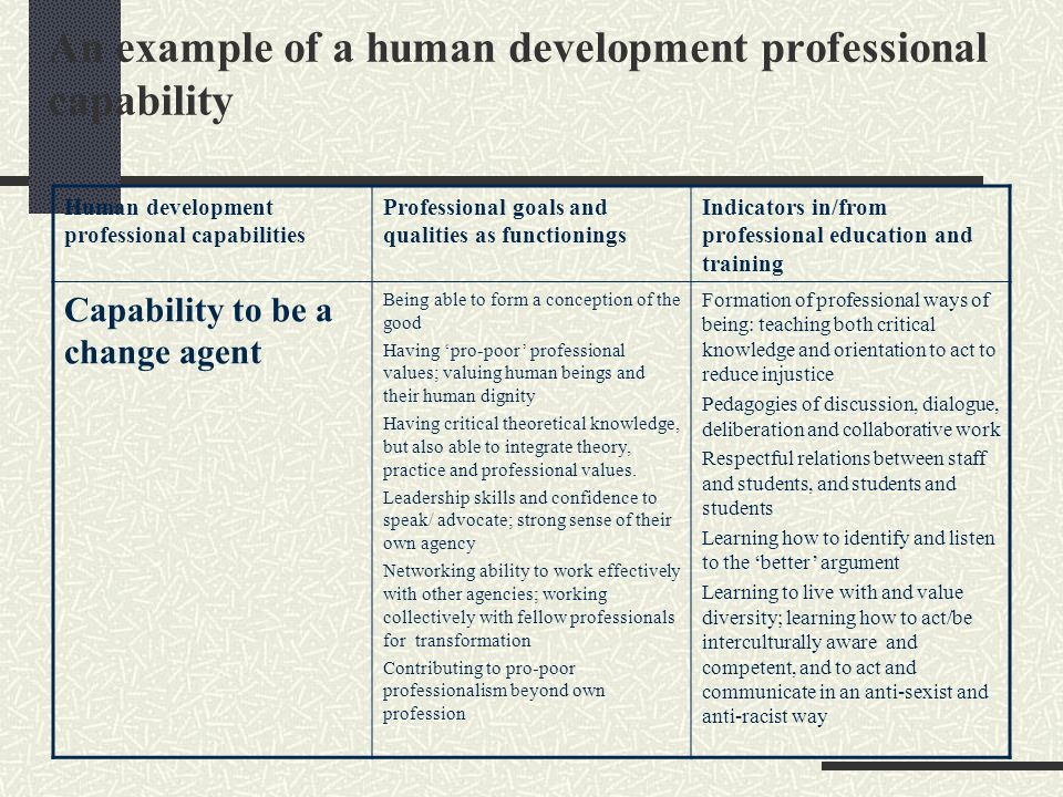 An example of a human development professional capability Human development professional capabilities Professional goals and qualities as functionings