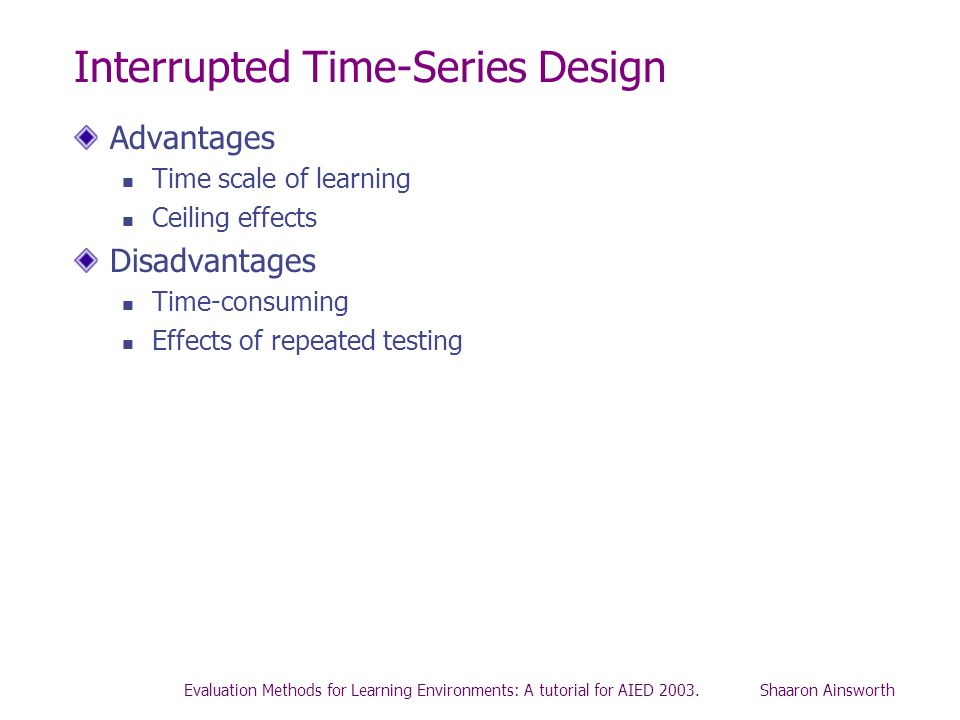 Evaluation Methods for Learning Environments: A tutorial for AIED 2003. Shaaron Ainsworth Interrupted Time-Series Design Advantages Time scale of lear