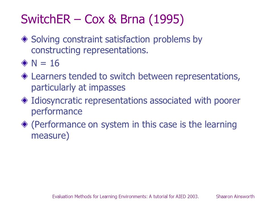 Evaluation Methods for Learning Environments: A tutorial for AIED 2003. Shaaron Ainsworth SwitchER – Cox & Brna (1995) Solving constraint satisfaction