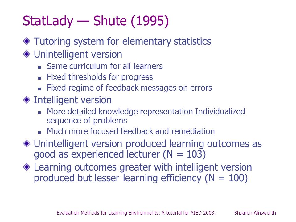 Evaluation Methods for Learning Environments: A tutorial for AIED 2003. Shaaron Ainsworth StatLady Shute (1995) Tutoring system for elementary statist
