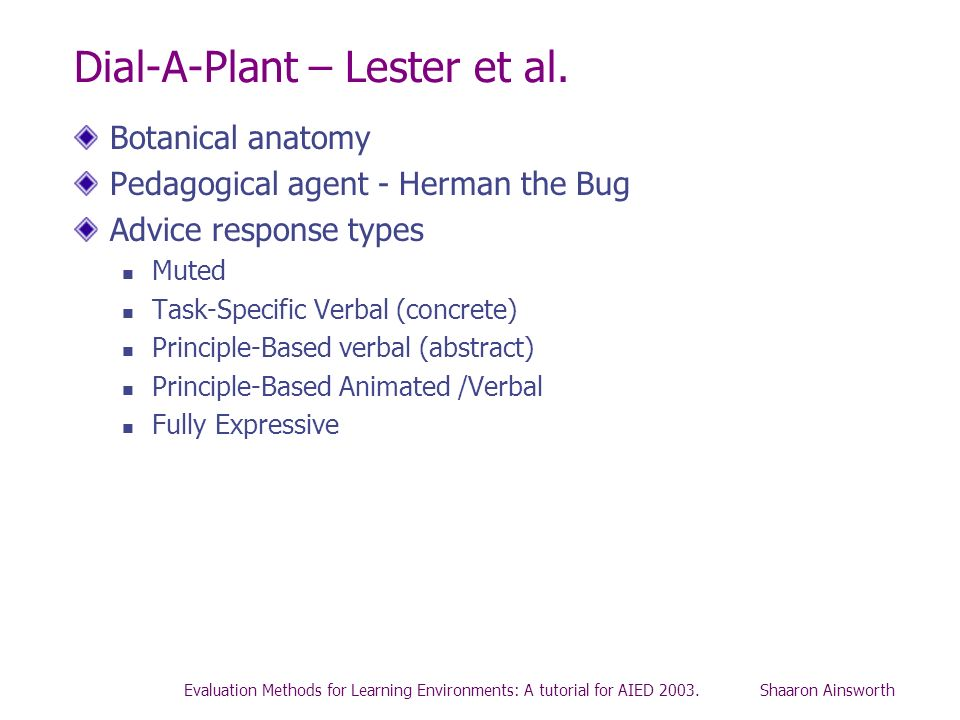 Evaluation Methods for Learning Environments: A tutorial for AIED 2003. Shaaron Ainsworth Dial-A-Plant – Lester et al. Botanical anatomy Pedagogical a