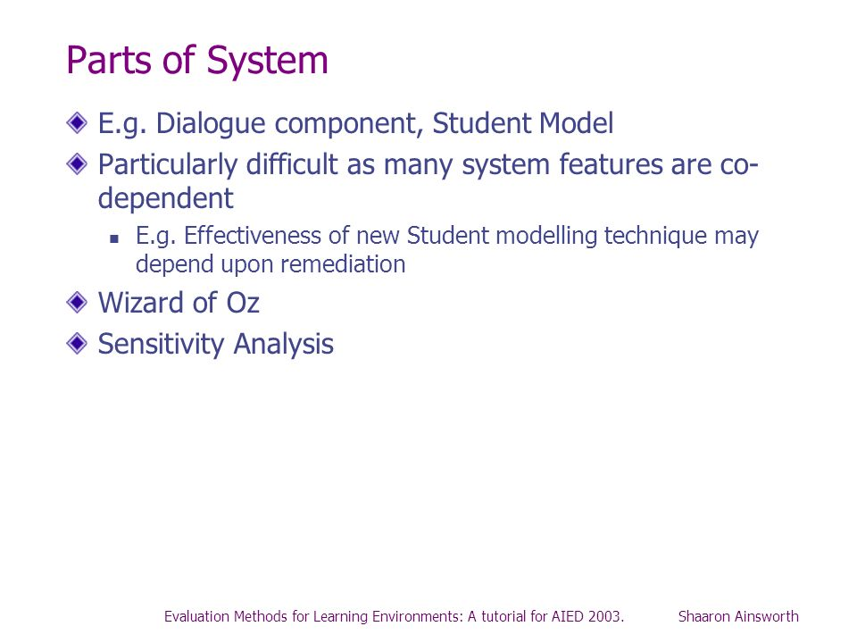 Evaluation Methods for Learning Environments: A tutorial for AIED 2003. Shaaron Ainsworth Parts of System E.g. Dialogue component, Student Model Parti