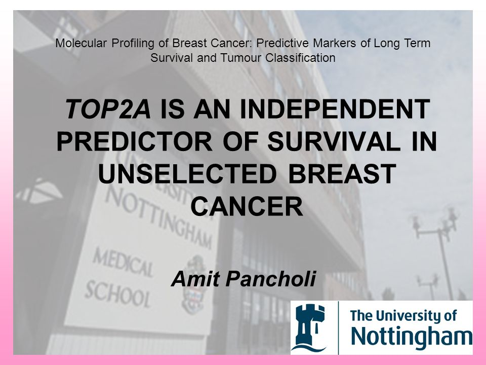 TOP2A IS AN INDEPENDENT PREDICTOR OF SURVIVAL IN UNSELECTED BREAST CANCER Amit Pancholi Molecular Profiling of Breast Cancer: Predictive Markers of Long Term Survival and Tumour Classification