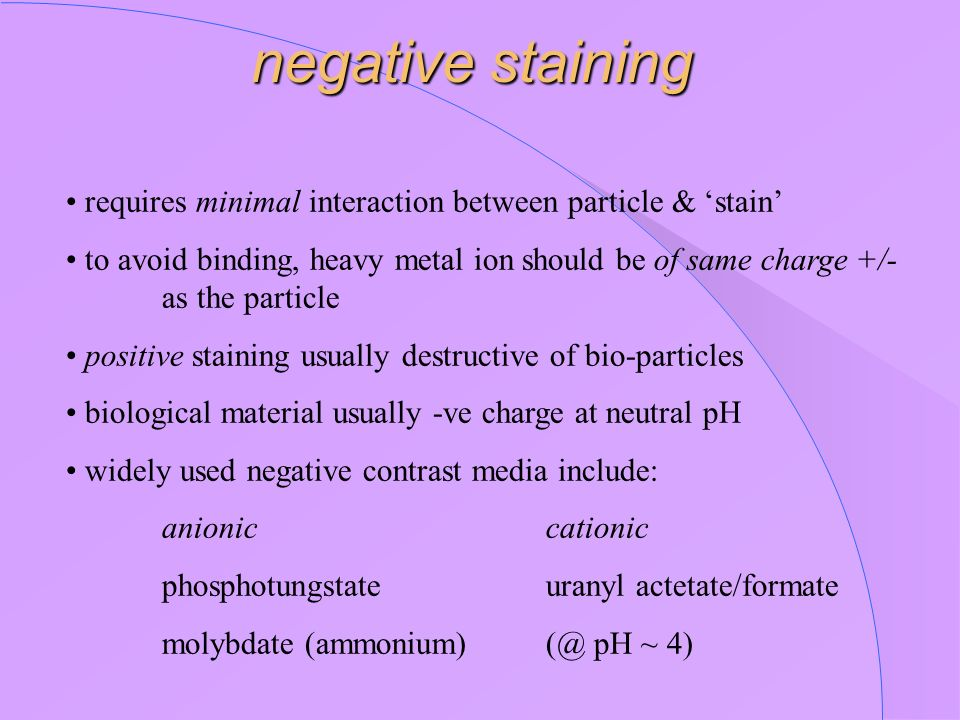 negative staining requires minimal interaction between particle & stain to avoid binding, heavy metal ion should be of same charge +/- as the particle