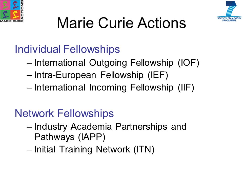 Individual Fellowships –International Outgoing Fellowship (IOF) –Intra-European Fellowship (IEF) –International Incoming Fellowship (IIF) Network Fellowships –Industry Academia Partnerships and Pathways (IAPP) –Initial Training Network (ITN)