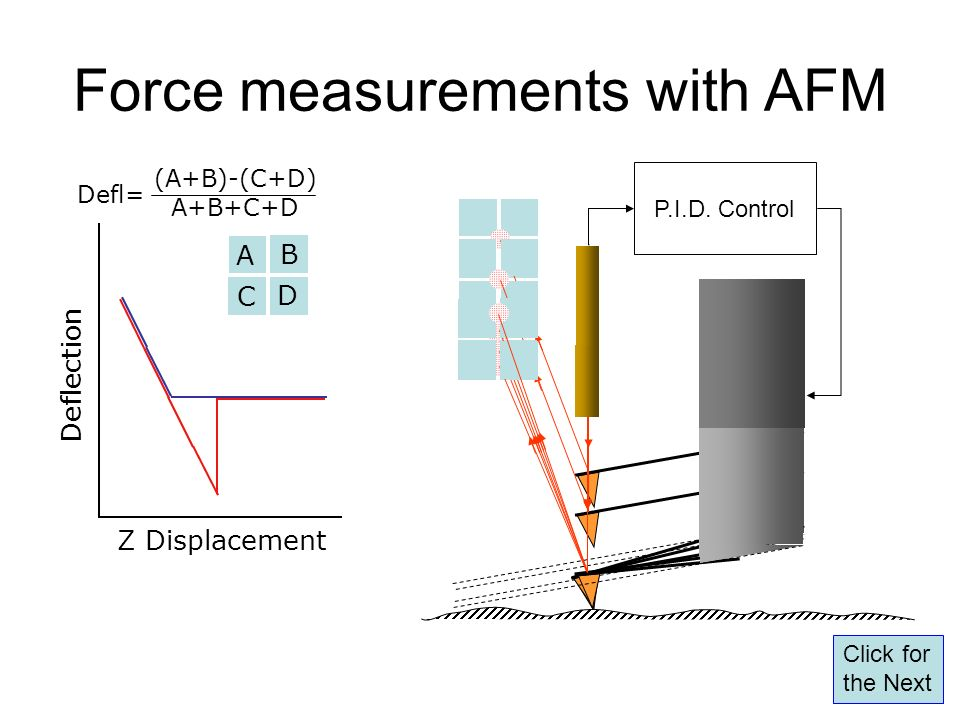 Force measurements with AFM Z Displacement Deflection A B C D (A+B)-(C+D) A+B+C+D Defl= P.I.D. Control Click for the Next