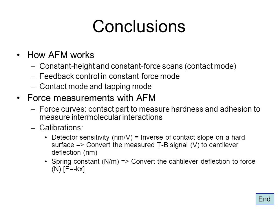 Conclusions How AFM works –Constant-height and constant-force scans (contact mode) –Feedback control in constant-force mode –Contact mode and tapping