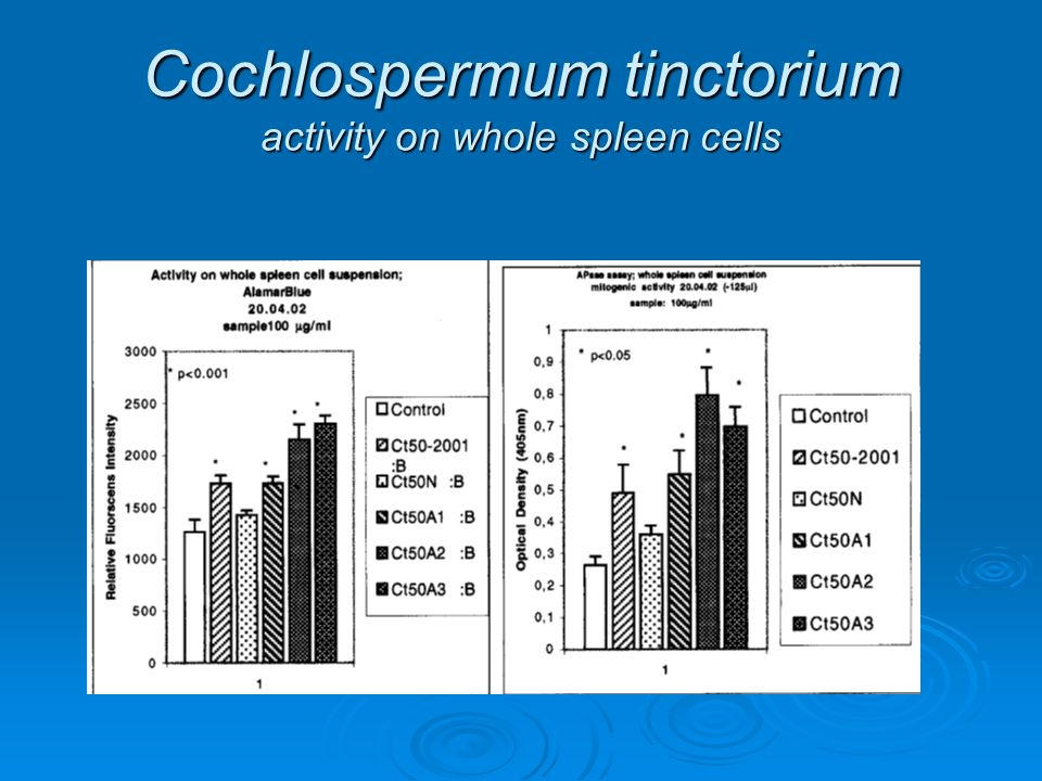 Cochlospermum tinctorium activity on whole spleen cells