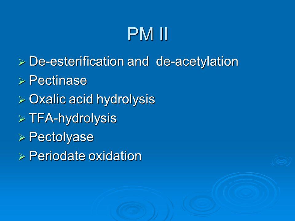 PM II De-esterification and de-acetylation De-esterification and de-acetylation Pectinase Pectinase Oxalic acid hydrolysis Oxalic acid hydrolysis TFA-hydrolysis TFA-hydrolysis Pectolyase Pectolyase Periodate oxidation Periodate oxidation